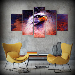 Discount african american paintings - 5 Pcs Set Framed HD Printed Flag and Eagle American Flag Picture African Decorative Modern Art Stretch Canvas Acrylic Pa