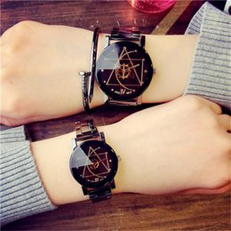 Korean couple glasses online shopping - Luxury Couples Watches Korean Version Compass Gear Stainless Steel Lovers Wrist Watch Personality Mens Women Quartz Wristwatches Watches