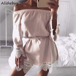Lin Sexy Pas Cher-New Fashion Women Casual Slash Neck Off The Shoulder Dress avec ceinture Long Sleeve Lace Patchwork Lin Mini robe Sexy Blue Black SVH033911