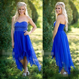 Navy blue hot piNk bridesmaid dress online shopping - Hot Selling Royal Blue Hi Low Bridesmaid Dresses Sweetheart Sleeveless Backless with Bead Boho Party Prom Gowns Maid of Honor Dress DTJ