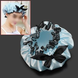 Discount shower waterproofing Wholesale- Blue Ribbon Waterproof Elastic Band Lace Bow Hat Hair Bath Shower Bouffant Cap