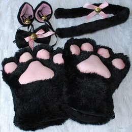 Ensemble De Queue D'oreille De Chat Pas Cher-1 Set Cat Ears Gants à la griffe Paw Peluche Ruban Ruban Anime Cosplay Costumes 5 Couleurs