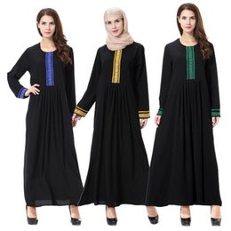 Embroidery Clothing For Women Canada - Islamic Muslim Dresses For Women Maxi Embroidery Dresses Abaya Malaysia Turkish Ladies Clothing Women Muslim Dresses Middle East Lady Robe