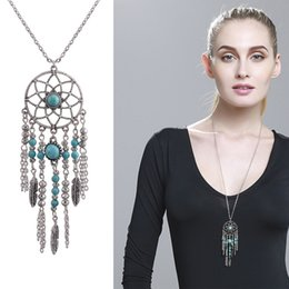 $enCountryForm.capitalKeyWord NZ - 2017 European and American alloy jewelry, turquoise monkey dream net pendant necklace, feather tassel sets, bohemian accessories