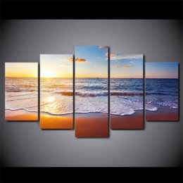 $enCountryForm.capitalKeyWord NZ - Modern Wall Art Home decor Canvas Painting 5 Panel Unframed Beach Sunrise Seascape Paintings For Living room Personalized gift