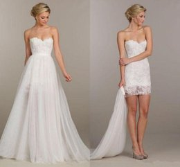 Convertible wedding dresses online cheap convertible wedding 2016 summer holiday convertible short beach boho party wedding dresses two pieces detachable overskirt lace boho beach bridal wedding gown junglespirit Image collections