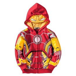 Chinese  cute boy's hoodie sweatshirt cartoon iron man style hooded coat for 2-10yrs boy children outerwear clothes hot manufacturers
