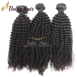 Discount 7a grade peruvian curly hair - Brazilian Hair Kinky Curly Virgin Human Hair Weaves Extensions Bundles Grade 7A 3pcs lot Natural Color Little Curl Bella