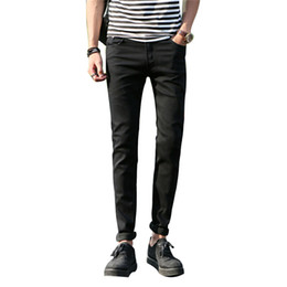 Mens capris wholesale online shopping - Mens wash Denim Jean men pants pockets slim jeans stretch pencil pants men s leisure trousers Ripped Men Jeans Small feet pants