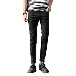 China Wholesale- Mens wash Denim Jean men pants pockets slim jeans stretch pencil pants men's leisure trousers Ripped Men Jeans Small feet pants cheap mens capris wholesale suppliers