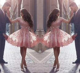 CoCktail dress pink silver online shopping - 2017 Pink New Arabic Style Homecoming Dresses Off Shoulders Lace Appliques Cap Sleeves Short Prom Dresses Backless Cocktail Dresses Custom