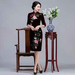 $enCountryForm.capitalKeyWord Canada - 2019 New classic high quality plus size 3 4 long sleeve velvet embroidery wine red purple short cheongsam wedding dress evening dress qipao