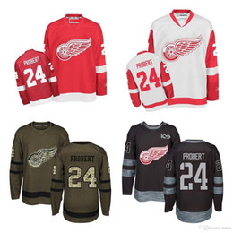 2ecf6b560 Wholesale 2016 New Detroit Red Wings 24 Bob Probert Red White Black Brown  100% stitched Ice Hockey Jerseys Hot sale