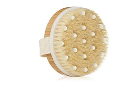 massage natural UK - Dry   Wet Body Brush Natural Boar's Bristle Wet Massage Bath Body Brush Spa Exfoliator - Remove Dead Skin And Toxins, Cellulite Treatment