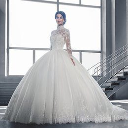 Modest High Neck Long Sleeves Wedding Dresses 2017 Plus Size Lace Ball Gown Bridal Gowns