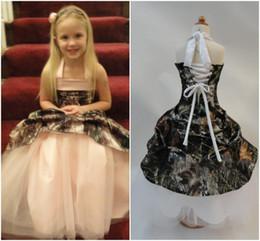 Discount unique christening dresses girls - Flower Girl Dresses Camo Gown Halter Neck Unique Design Ball Gown Floor Length Lace Up Back Sweet Kids Wear Cheap Price