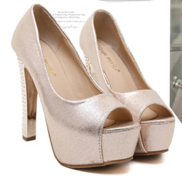bridal peep toe heels NZ - bridal wedding shoes gold silver peep toe platform high heels sexy women pumps size 34 to 30