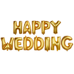 gold witch UK - 12pcs set HAPPY WEDDING Cute Foil Helium Letters Balloon Anniversary Decor New Gold Color 16 inch