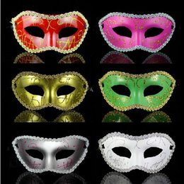 $enCountryForm.capitalKeyWord Australia - Women's Venetian Dance Painted Glitter Mask With Lace Edge Mardi Gras Costume Accessory New Prop Halloween Party Costume Decorations