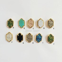 Druzy Crystal Turquoise UK - Fashion Kate Oval Druzy Stone Earrings Gold Plated Drusy Geometry Hexagon Stone Earrigns Best for Lady Various Choose Colors