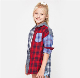 Barato Painéis De Camisa-Big Kids Girls Plaid Shirts Adolescente Fashion Paneled Blouse Junior Autumn Casual Tees 2017 roupas para crianças