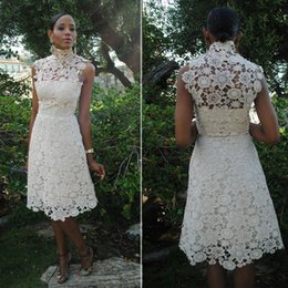9aee79c879e1 Vintage 1950s Lace Wedding Dresses High Neck Sleeveless Knee Length Short  Wedding Gowns Mature Female Wedding Party Dresses Guest Dresses