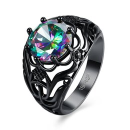 Wholesale midi rings Shining Flower Style Bright Zircon Stone Ring Black Gold Filled Unique Jewelry Wedding Party Finger Rings For Women