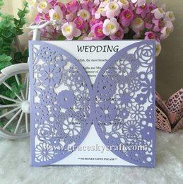 types wedding invitation cards NZ - 50pcs lot free shipping laser cut Wedding Invitation Cards Romantic Flowers Cards hollow Birthday Invitation Card party supplies