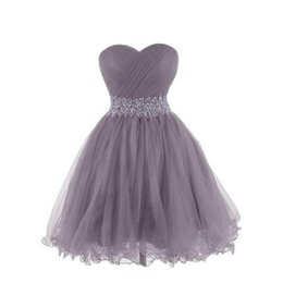 Chinese  2017 Grey Tulle Short Cocktail Dresses Sweetheart Ball Gown Beaded Waist Real Picture Homecoming Party Gowns Fashion New Graduation Dress manufacturers