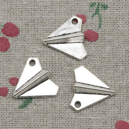 Diy Paper Making Canada - 76pcs Charms paper airplane plane 18*17mm Antique Silver Pendant Zinc Alloy Jewelry DIY Hand Made Bracelet Necklace Fitting