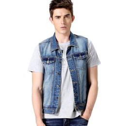fashion gilet mens 2019 - Wholesale- Fashion Brand Mens Denim Vests Jackets Men Sleeveless Outerwear Classic Washed Blue Denim Vests Slim Fit Punk