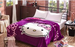 $enCountryForm.capitalKeyWord Canada - NEW Kawayi Hot Selling 1lot 10pcs Flannel Purple Hello Kitty Cartoon Blanket Big Size 150*200cm bed sheet for Girls child Office Baby Gift