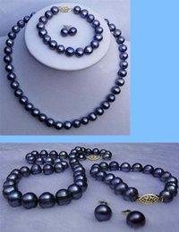 $enCountryForm.capitalKeyWord Australia - 8-9mm Real Natural Black Cultured Pearl Necklace Bracelet Earrings Jewelry Set