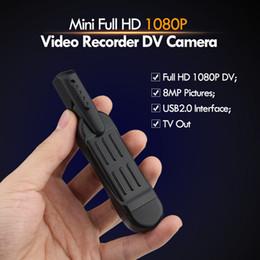 Pen Video Camera Hd Canada - Wholesale- T189 8 MP Full HD 1080P Mini Pen Voice Recorder   Digital Video Camera With Clip Mini DV Camera Camcorder Camara Mini