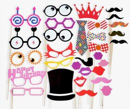 photo funny prop Australia - Hot 31pcs set Funny Birthday Graduation Party Photo Booth Props Glasses Neck Tie Cap On A Stick Party DIY Masks