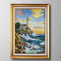 Sea kitS online shopping - The lighthouse sea scenery Europe style Cross Stitch Needlework Sets Embroidery kits paintings counted printed on canvas DMC CT CT