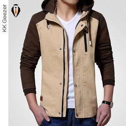 Barato Roupa Destacável-Venda por atacado - 2016 New Spring Autumn Thin Jacket Men Solid Fashion Coats Masculino Casual Slim Stand Collar Jacket Men Hat Destacáveis ​​Casacos Outwear
