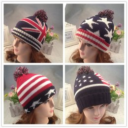 $enCountryForm.capitalKeyWord Canada - Top Quality Fashion U.S.A American Flag Beanie Hat.Wool Thicken Warm Knitted Caps,Casual Hip-hop Cap Hairball adult Knitted Hats b1478
