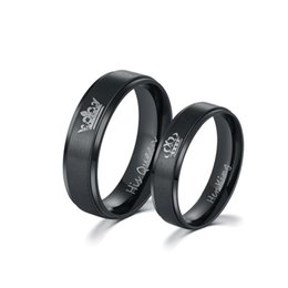 $enCountryForm.capitalKeyWord UK - Trendy Black Titanium Steel His Queen and Her King Couple Rings for Lovers Gifts Wholesale(Size 7,8,9,10,11,12)