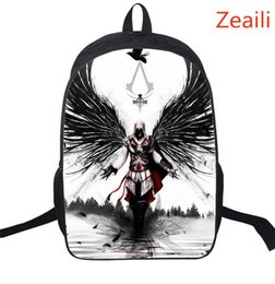 Discount assassin cartoon - Wholesale- 16 Inch Assassin's Creed Nylon Kids Backpack For Teenagers Children School Bags Boys Double Assassins Cr