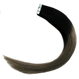 hair extensions tapes 2019 - Wholesale- 7a Double Sided Remy Skin Weft Hair Extensions Adhesives 20pcs Two Tone Ombre Brazilian Hair 50g 1B Grey Ombr