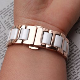 18mm watch bracelet NZ - Stainless steel Metal Watchband wrap Ceramic White Watch band strap bracelet butterfly deployment 14mm 16mm 18mm 20mm 22mm replacement new