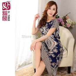 Wholesale- XXXL Long Loose Plus Size Women 100% Cotton Summer Nightgown  Thin Short-sleeve Print Lounge Dress Bust 120CM Free Shipping 028743868
