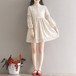 Xl Gril Pas Cher-Robes pour femmes Plus Size Women Clothing Beige Hollow Out Lace Dress Casual Loose Stand Collar Mori Gril Dress