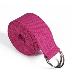 Wholesale 183cm Yoga fitness resistance bands Yoga stripes Belts Stretch Strap D Ring Belt Waist Leg Gym Rope Yoga loop Belt
