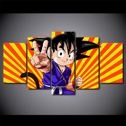 Discount modern painting pictures - 5 Pcs Set Framed HD Printed Dragon Ball Z Kid Goku Wall Canvas Art Modern Painting Poster Home Decor Decorative Picture
