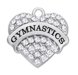 $enCountryForm.capitalKeyWord Australia - 10pcs lot Sports Fitness Word Gymnastics Charms Pendant Mixed Crystal Heart Women DIY Jewelry Findings Components fashion charm