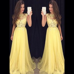 Longue Robe De Paillette En Mousseline De Soie Pas Cher-2017 Light Yellow Chiffon Lace Robe de bal Sweep Train Sheer Neck Zipper Back Sequins Beading A Line Robe de soirée formelle Robes de soirée longues
