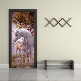 Unicorn Stickers NZ - 77*200cm Unicorn Animal Wall Stickers 3D Door Styling Mural Sticker Home Living Room Bedroom Decoration Forest Landscape Wallpaper