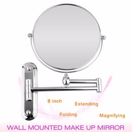 Wholesale 8 Inch Wall Mounted Extending Folding Round Two Side 7X 10X Magnification Bathroom Mirror Makeup Cosmetic Ladys